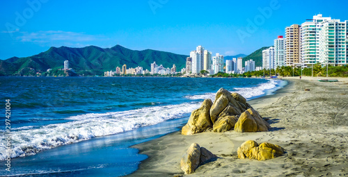 Foto  Beautiful Salguero beach in Santa Marta, Colombia