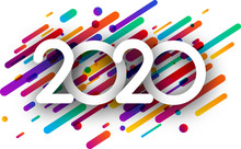 2020 New Year Sign With Colorful Paint Flat Strokes On White Background.