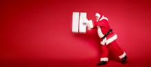 Real Santa Claus Smiling,holding Big Gift Box.