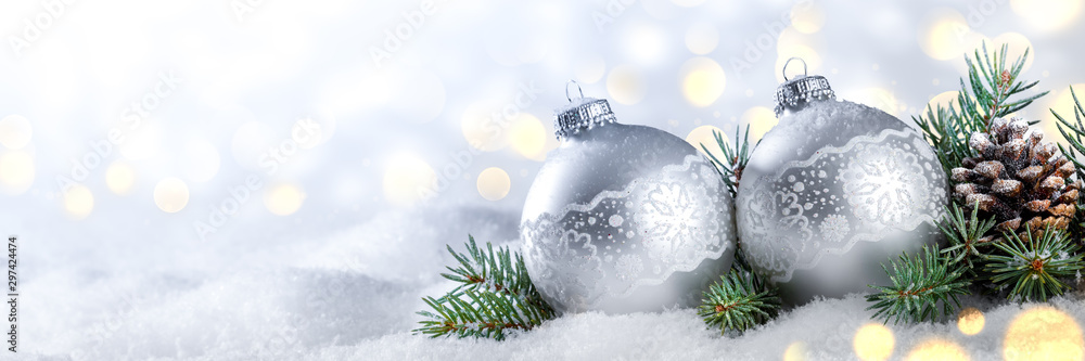 Fototapety, obrazy: Silver Christmas Balls With Pine-cone And Branches On Snow With Golden Bokeh Background - Christmas/New Year