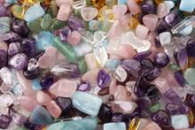 Healing Chakra Crystals Banner. Chakra Colored Tumbled Healing Stones.