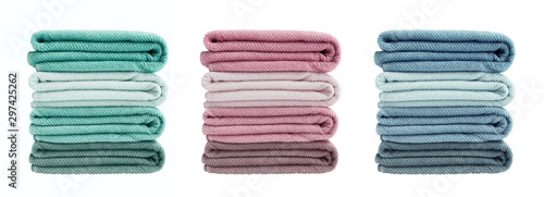 Keuken foto achterwand Stof Set of colorful bath towels isolated over white background. Bath towels in stack
