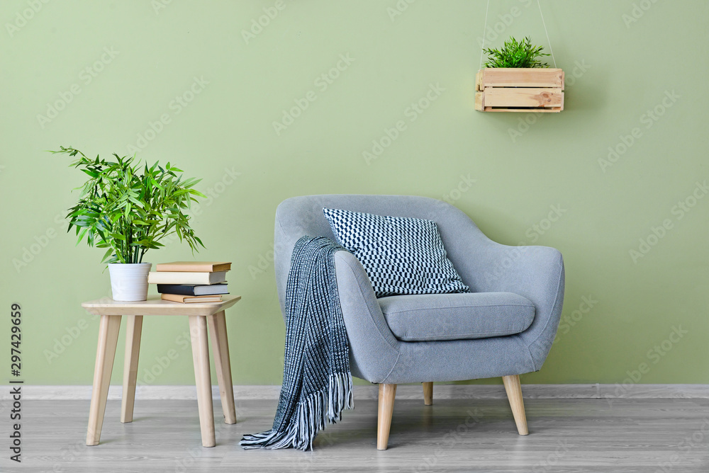 Fototapety, obrazy: Interior of modern room with armchair and table