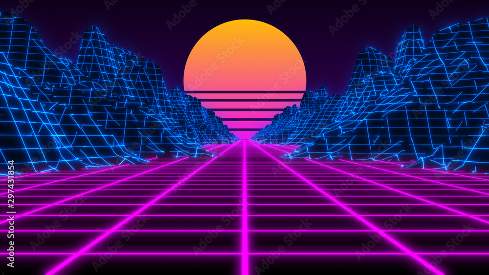 Fototapety, obrazy: Vaporwave retro futuristic 80's synthwave landscape and sun background - 3D illustration render