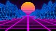 canvas print picture - Synthwave wireframe 80s Retro Futurism vaporwave background - 3D illustration render