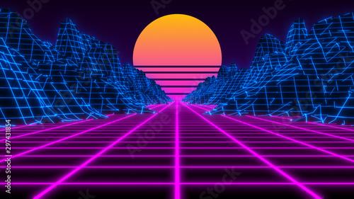 Fotografia  Vaporwave retro futuristic 80's synthwave landscape and sun background - 3D illu