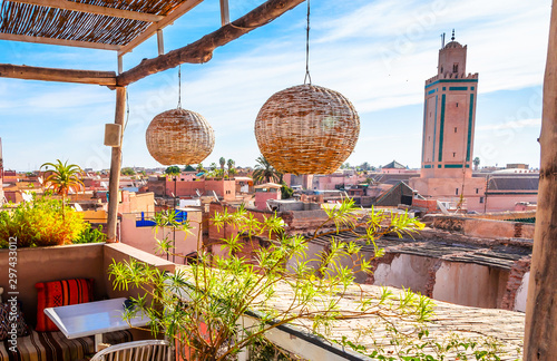 Wall Murals Morocco Panoramic view of Marrakesh and old medina, Morocco
