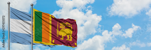 Fotomural  Argentina and Sri Lanka flag waving in the wind against white cloudy blue sky together