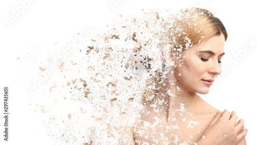 Obraz na plátně  Portrait of beautiful woman on white background