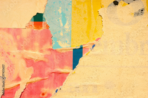 Old blank ripped torn posters grunge texture background creased crumpled paper backdrop placard surface / Urban street posters  / Empty space for text