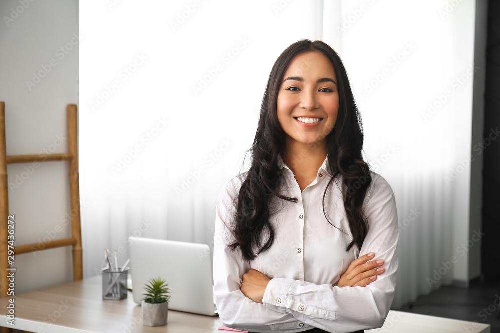 Fototapeta Beautiful Asian woman in office