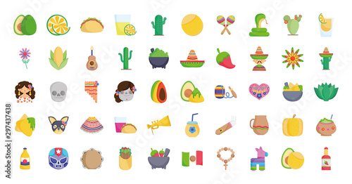 Fotomural  collection mexican food culture traditonal icons