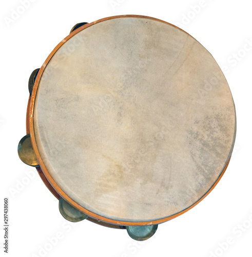 classical percussion musical instrument tambourine isolated on white background top front view - 297438060