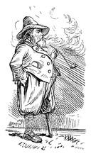Man Smoking Pipes, Vintage Ill...