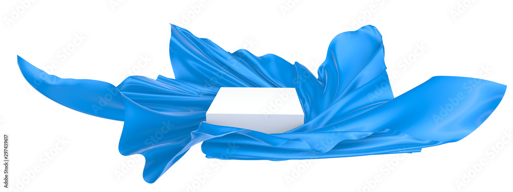 Fototapety, obrazy: White square surface surrounded by blue wavy fabric, silk or satin. 3d rendering image.