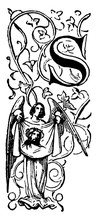 Decorative Letter S With Angel Holding Cloth, Vintage Illustration, Vintage Illustration