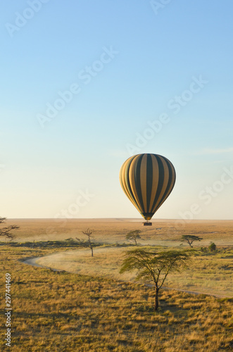 Poster de jardin Montgolfière / Dirigeable A striped hot air balloon floats above the plains of the Serengeti in Tanzani, Africa at sunrise; vertical image with copy space