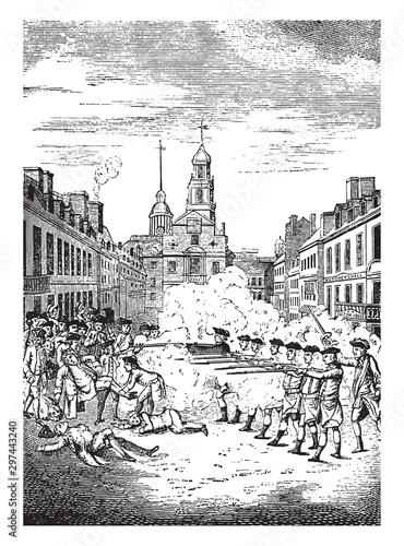 Valokuva Boston Massacre,vintage illustration