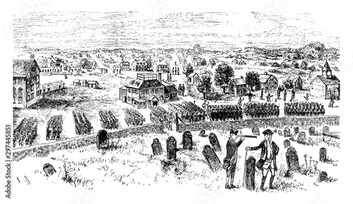 Obraz na plátně British Troops on Concord Common,vintage illustration