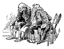 Two Men Talking, Vintage Illus...