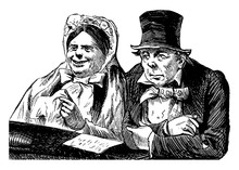 Man And Woman In Church, Vintage Illustration