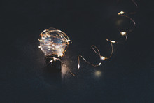 Brilliant Creativity, Idea Lightbulb Wrapped Up In String Lights Shining All Around It And With Bokeh