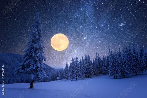 Winter night with starry sky and full moon