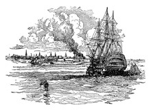 New York Harbor In Colonial Days, Vintage Illustration.
