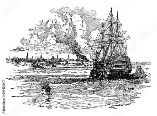 Cuadros en Lienzo  New York Harbor in Colonial Days, vintage illustration.