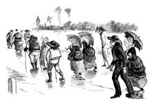 Walking In Rain, Vintage Illustration