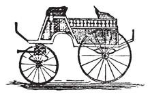 Dog Cart, Vintage Illustration.