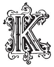 K, Ornamental Letter, Vintage Illustration