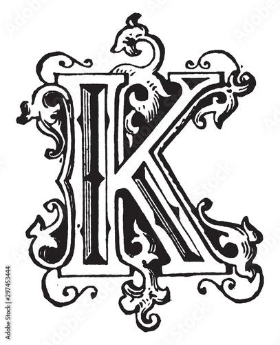 K, Ornamental letter, vintage illustration Wallpaper Mural