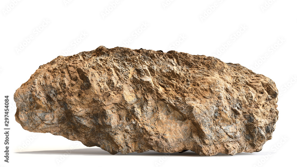 Fototapety, obrazy: natural brown rock isolated with shadow on white background
