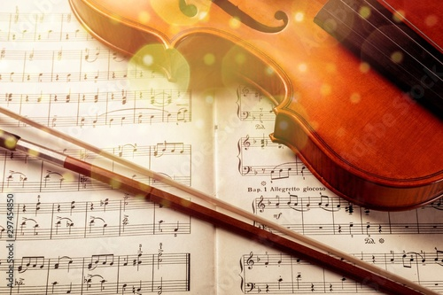 Photo Of Violin And Musical Notes with illustration - 297454850