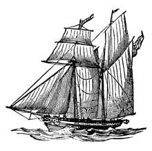 Schooner Ship, Vintage Illustr...
