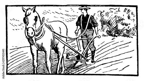 Photo Plowing, vintage illustration