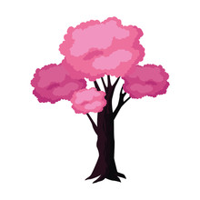 Pink Tree Icon, Colorful Design