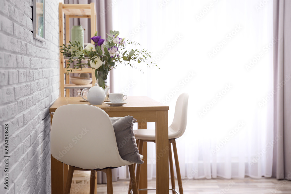 Fototapety, obrazy: Stylish room interior with wooden dining table