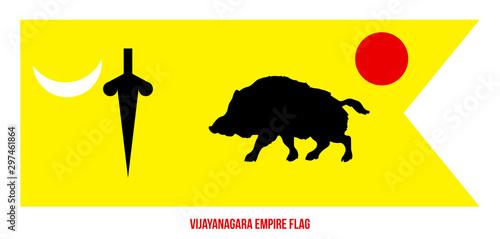 Fényképezés Vijayanagara Empire (1336-1646) Flag Waving Vector Illustration on White Backgro