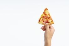 Hand Holding Hawaiian Pizza