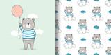 Fototapeta Fototapety na ścianę do pokoju dziecięcego - Draw card and print pattern bear for fabric textiles kids.