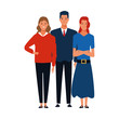 cartoon man and two women icon, colorful design