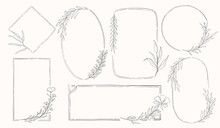 Plant Nature Frame Set. Decor Botanical Element.Elegante Vintage Style.