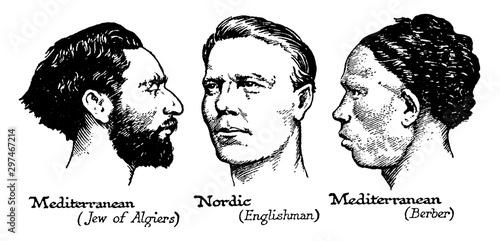 Early Races, Caucasian, vintage illustration Fototapet