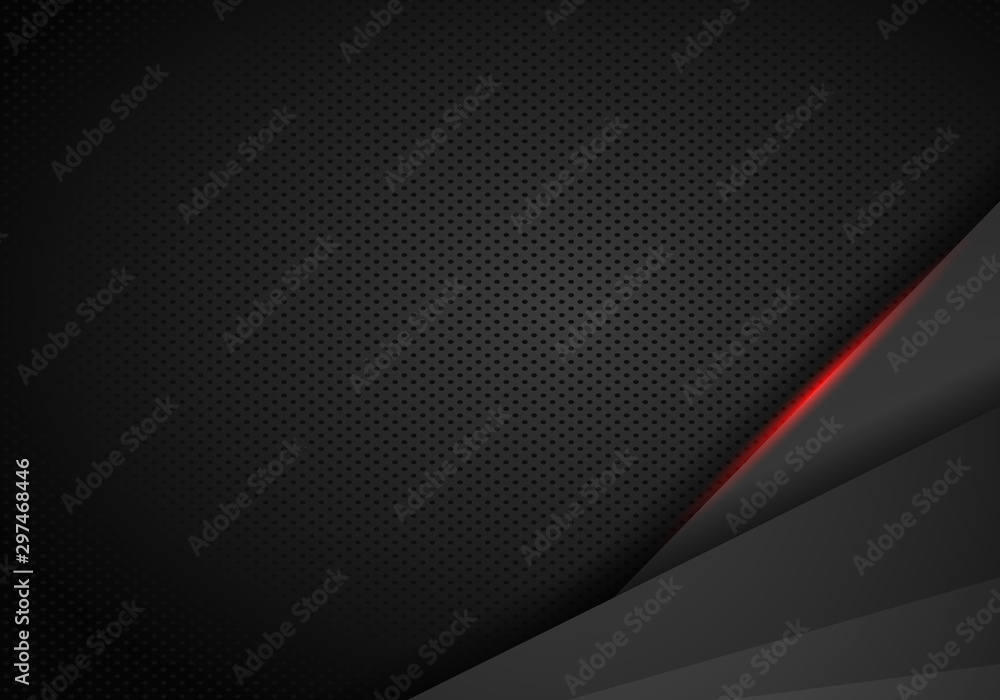 Fototapety, obrazy: abstract metallic black Red frame sport design concept innovation background.