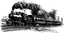 A Railroad Train, Vintage Illustration.