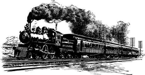 A Railroad Train, vintage i...