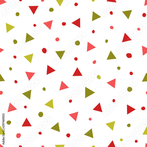 Simple abstract seamless patterns with triangles and dots. Holiday theme in red and green for wrapping paper. Background for children's holiday decoration