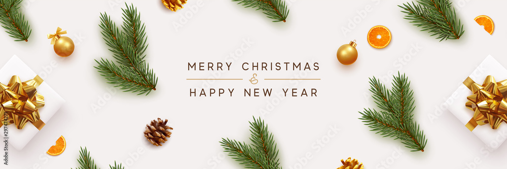 Fototapety, obrazy: Merry Christmas and Happy New Year banner. Xmas background with realistic festive decorative design elements. Pine and spruce branches, gift box, pine cone, orange, ball bauble. Flat lay, top view.